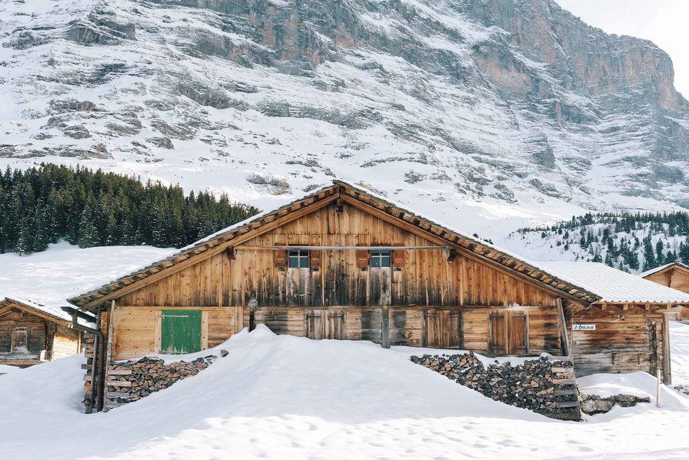 A beautiful log cabin below the famous north face of Eiger