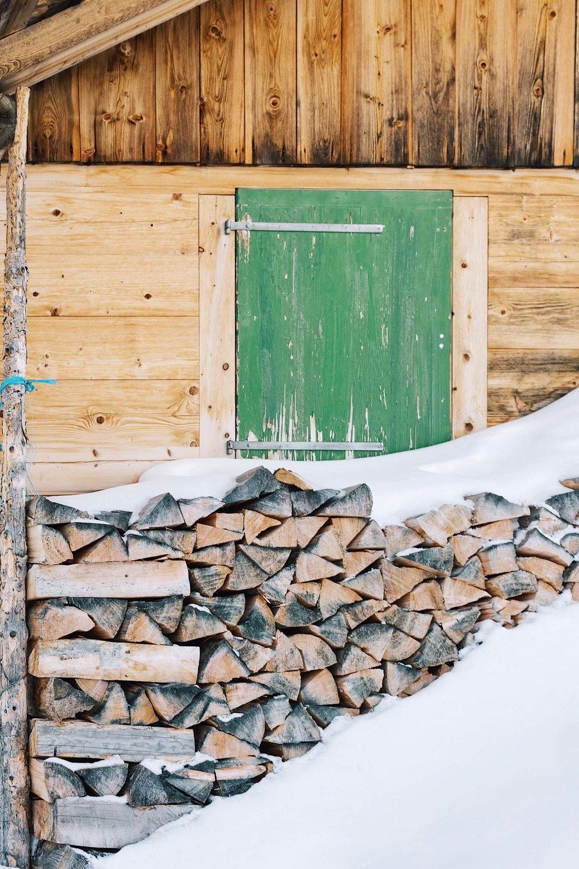 Snowy logs in Switzerland