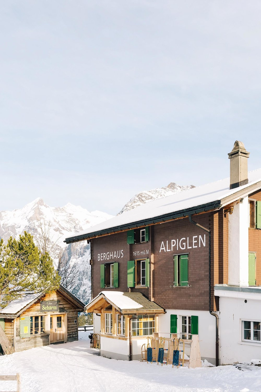 Berghaus Alpiglen, the perfect place to stop for a beer or some gluhwein while sledging the Eiger Run