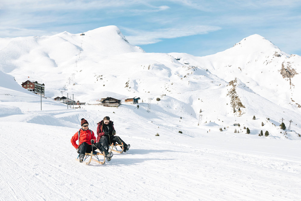 Racing along the Eiger Sledge Run to Grindelwald, Switzerland