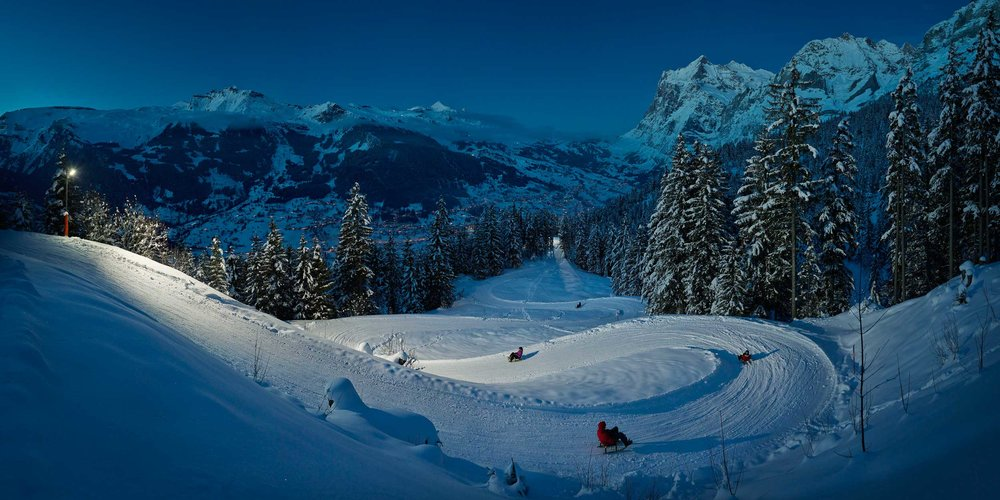 Eiger Sledge Run at night, via Jungfrau Railways