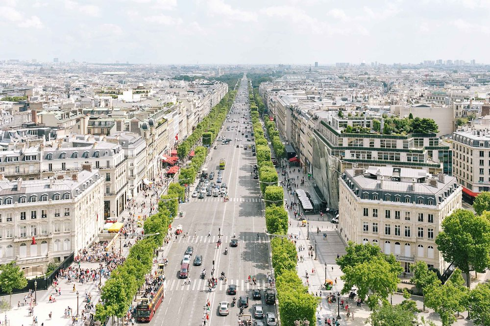 A beautiful summer view from the Arc de Triomphe