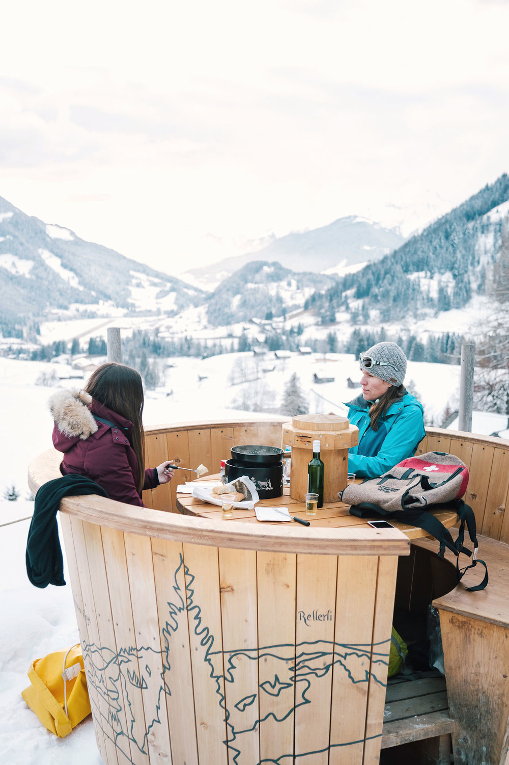 Gstaad is home to three large fondue pots, each with room for up to eight people, and one specially designed hut which also fits up to 8.