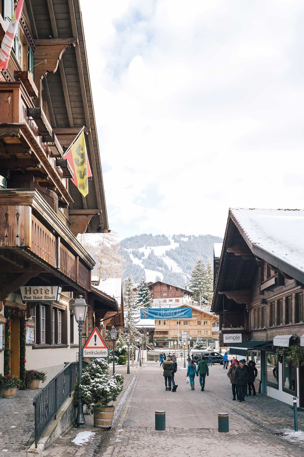 Views from the center of town in Gstaad, Switzerland