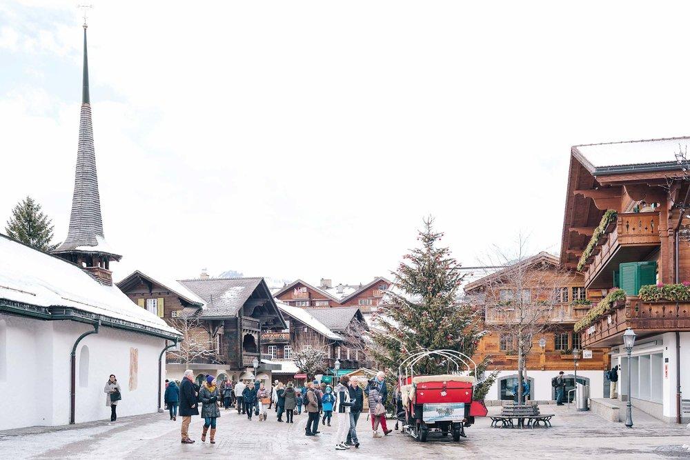Walking along the main street in Gstaad, Switzerland