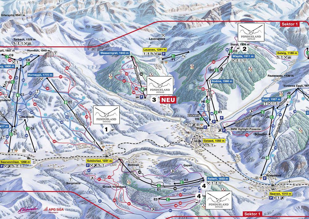 Fondueland Gstaad map