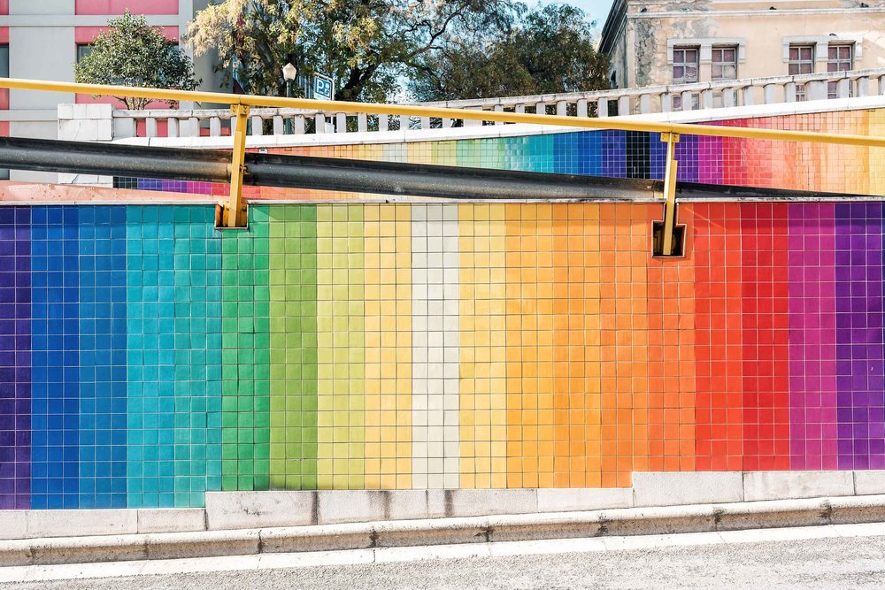 Rainbow tiling on Avenue Infante Santo in Lisbon