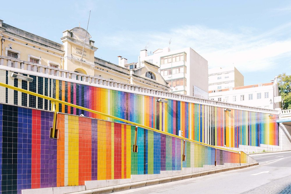 Not worth the visit - rainbow tiling on Avenue Infante Santo