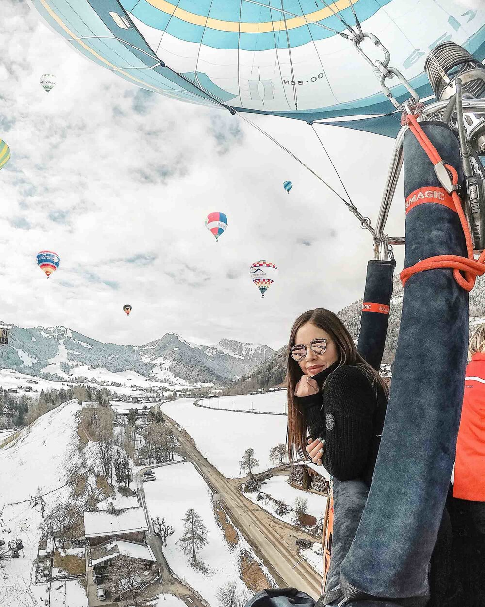 Passenger flight at the Chateau d'Oex International Hot Air Balloon Festival in Switzerland!