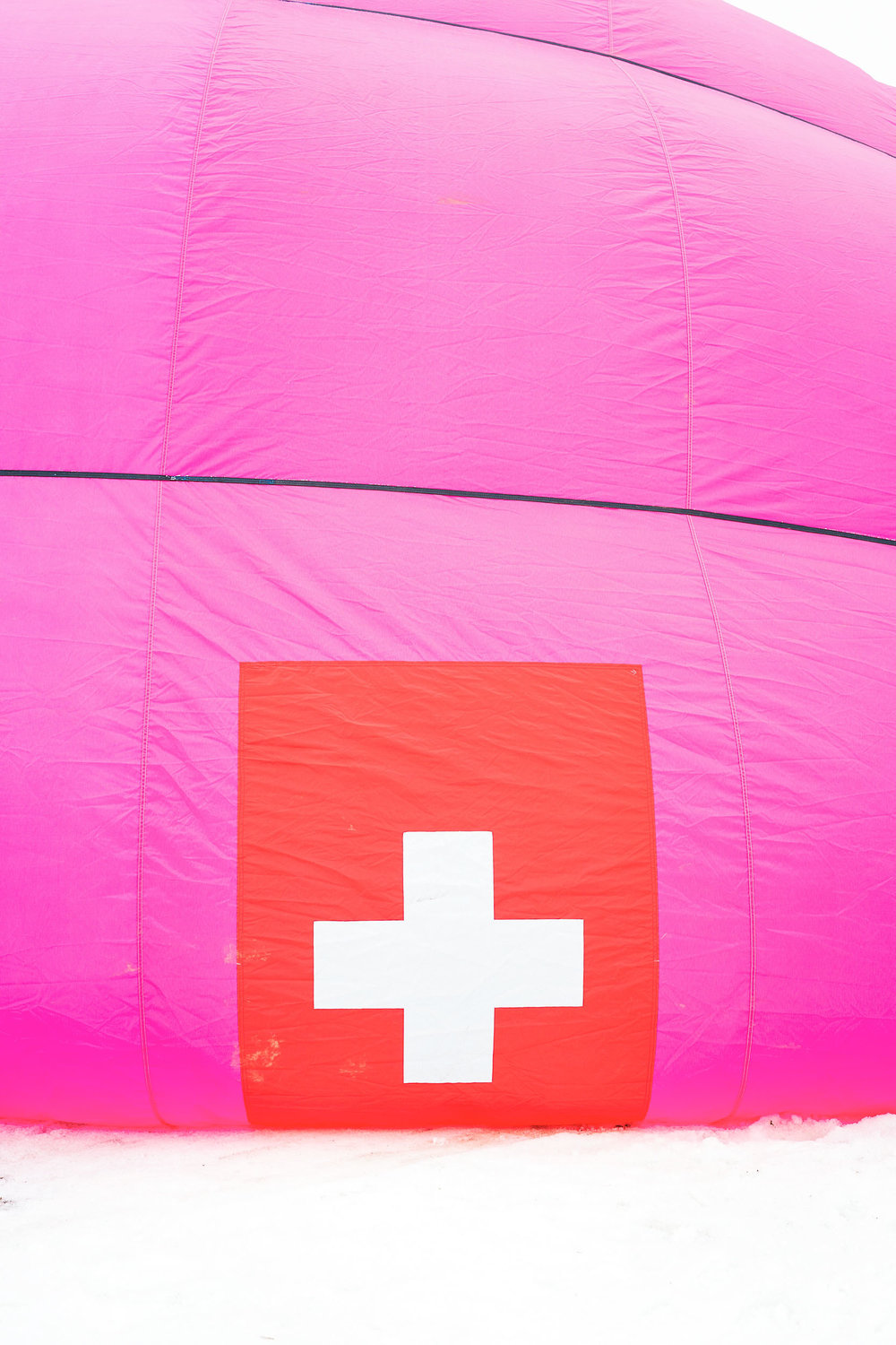 A swiss flag hot air balloon