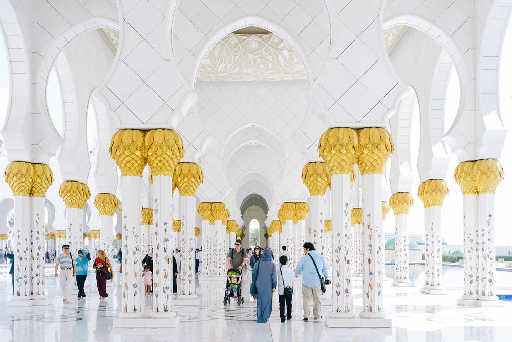 The Sheikh Zayed Grand Mosque is an unbelievably beautiful mosque in the city of Abu Dhabi, about an hour from Dubai.