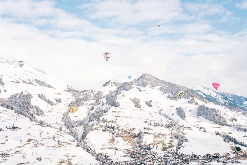 A winter hot air balloon ride in Switzerland