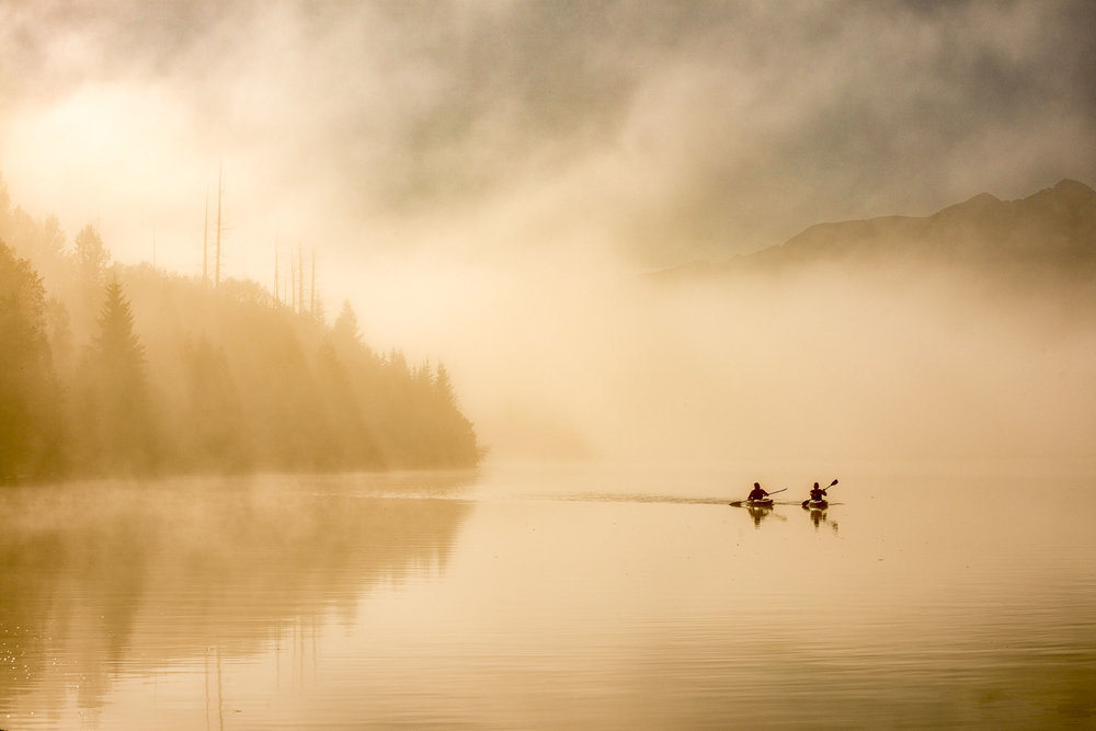 Kayaking on Crooked Lake. Credit: Destination BC/Michael Bednar