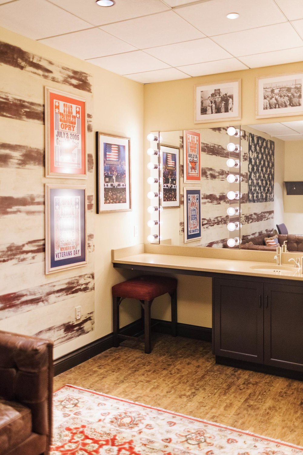 The stars and stripes themed dressing room backstage at the Opry
