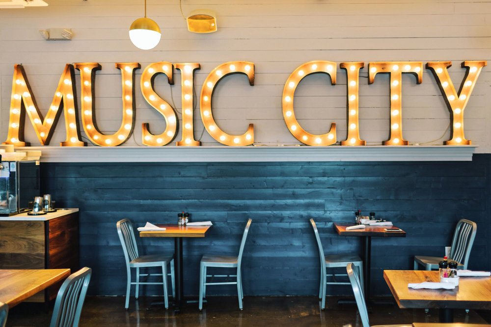 """Music City"" marquee sign at Biscuit Love in Nashville"