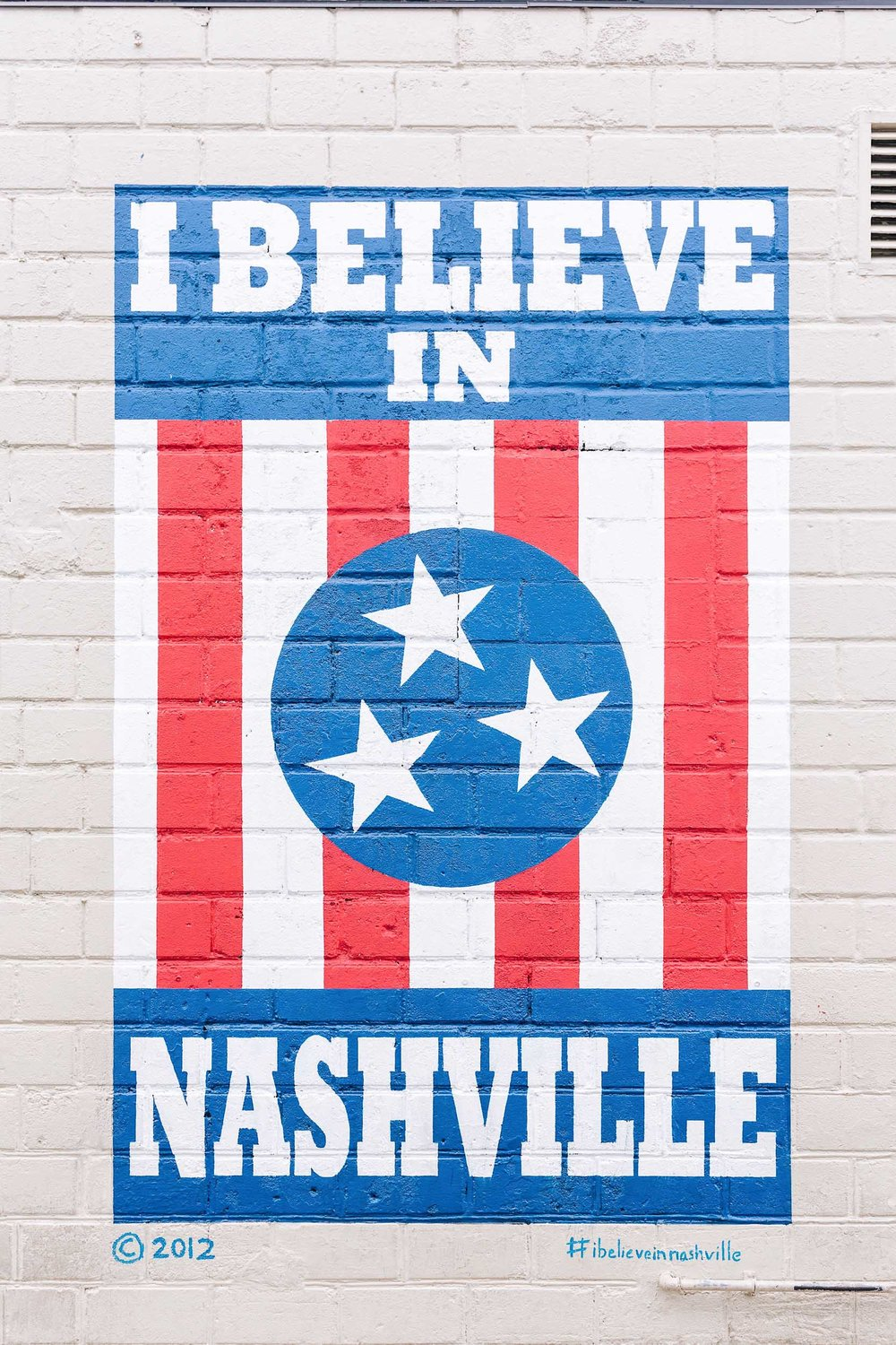 """I believe in Nashville"" mural in 12th South in Nashville"