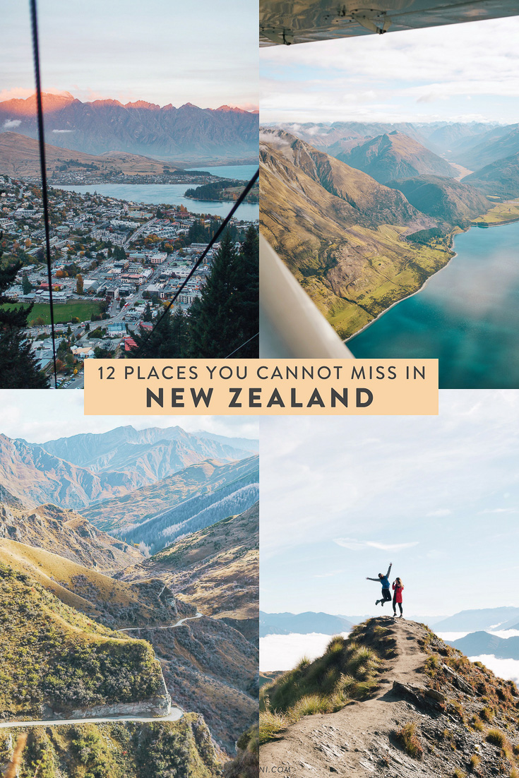 Planning a trip to New Zealand and trying to figure out an itinerary? Here are 12 places you MUST visit on New Zealand's North and South Islands! Nugget Point, Wanaka, Queenstown, etc!