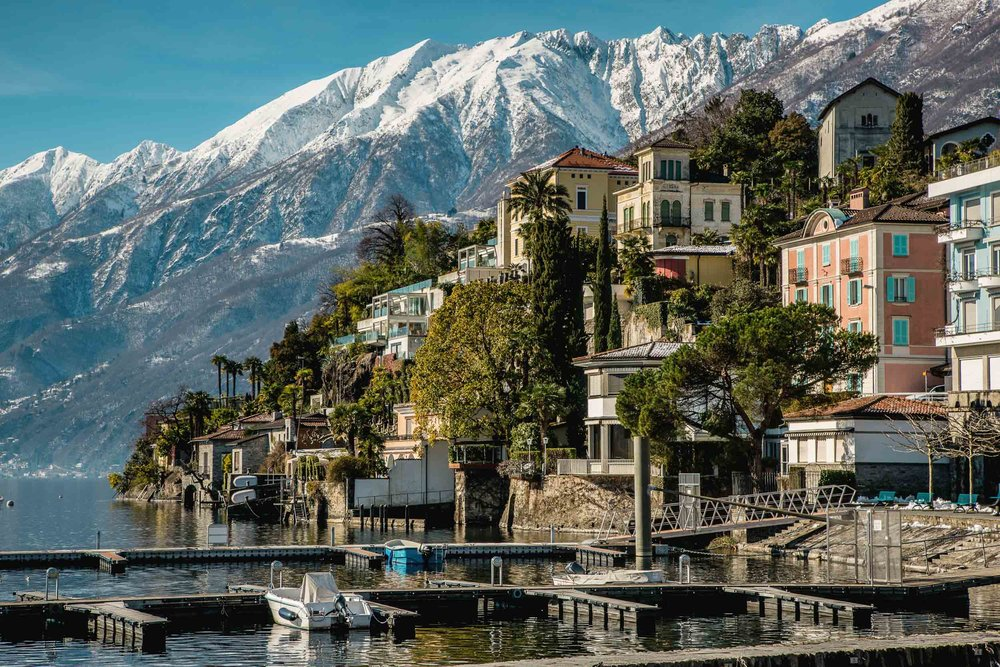 View from the port with the wintry Gridone in the background, Ascona. Copyright by: Switzerland Tourism