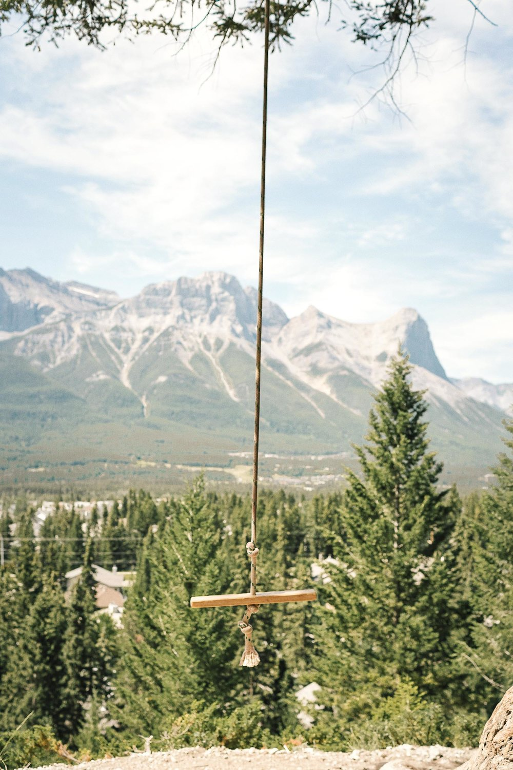 A rope swing with beautiful views in Banff National Park