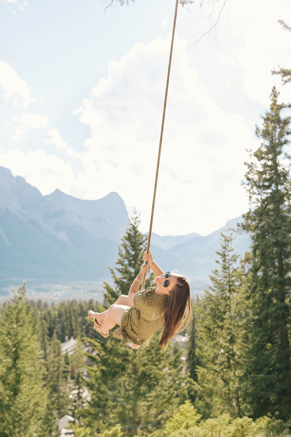 Swinging above Canmore near Banff National Park