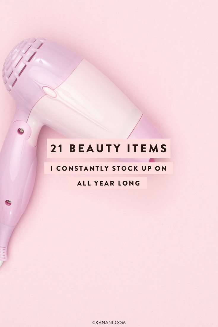 21 beauty items I constantly stock up on all year long! My favorite makeup, skincare, and haircare items. #beauty #skincare #makeup #sephora