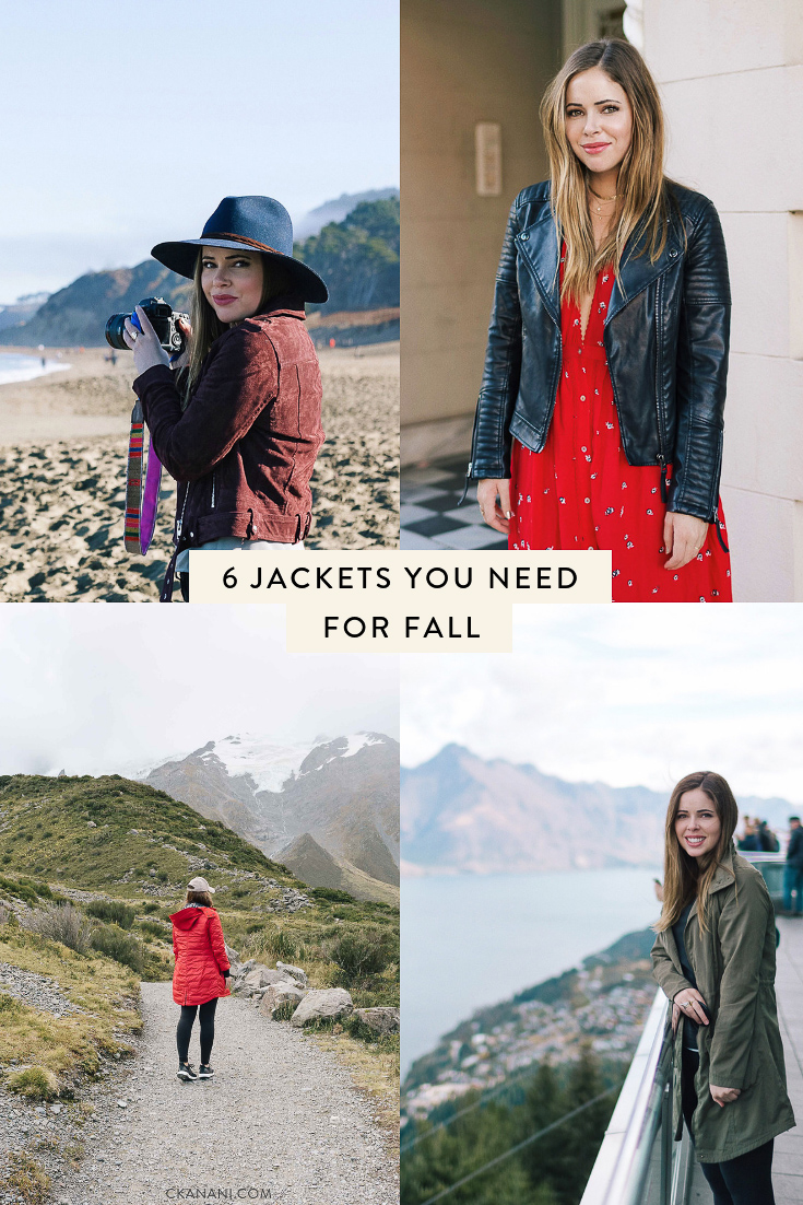 Fall is here in full force and with that comes dropping temps and gloomier days. Here are 6 jackets you need this autumn. #fashion #fallfashion #jackets #travel