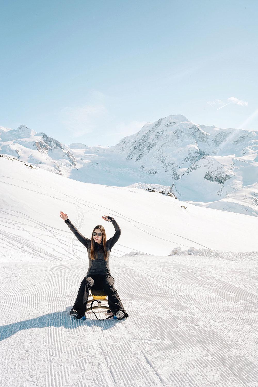 Sledding above Zermatt