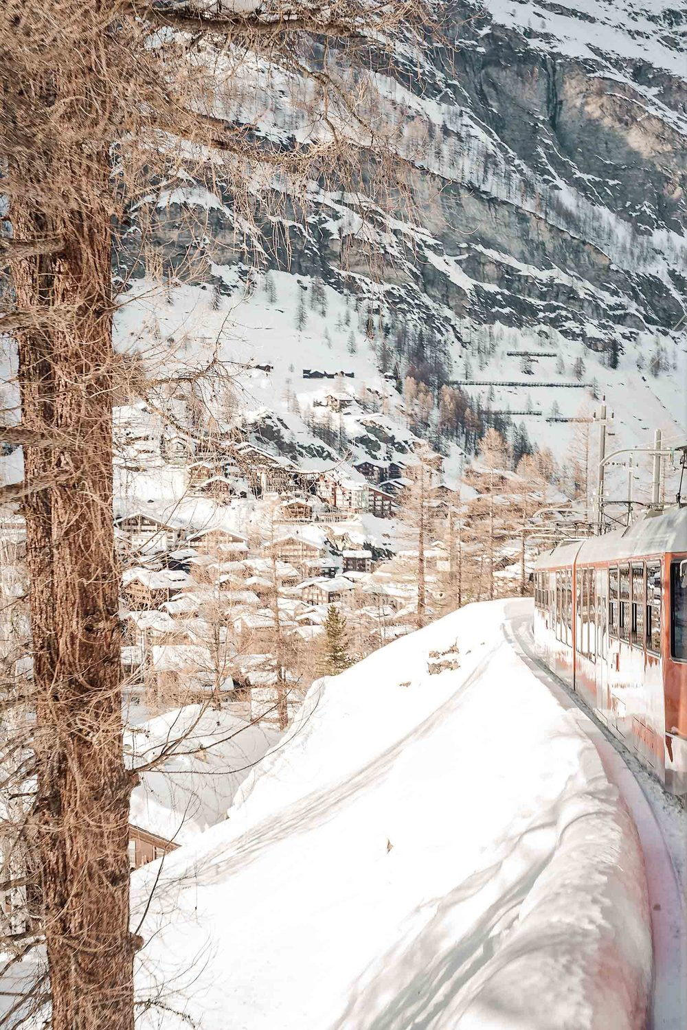 The beautiful train ride from Zermatt up to the mountains