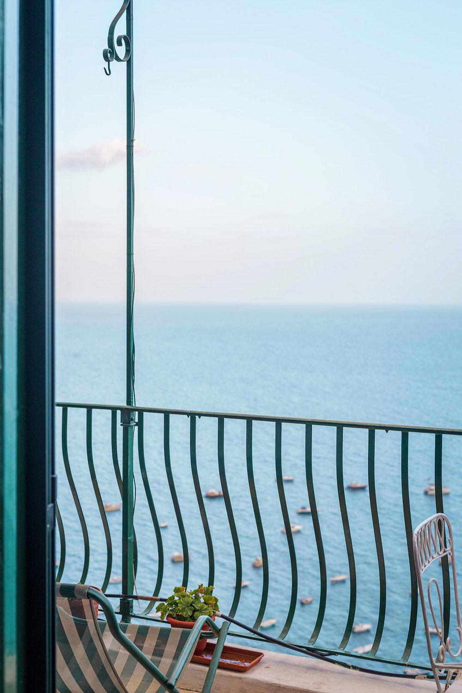 A hotel room balcony in Positano, Amalfi Coast, Italy