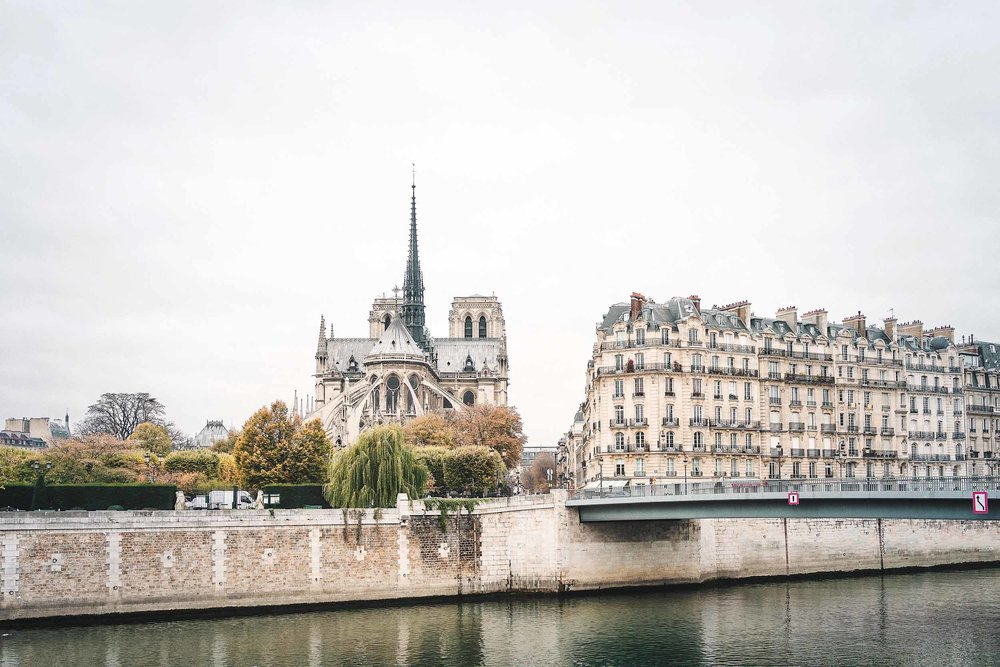 The perfect Paris itinerary: A view of Notre Dame from near Cafe St. Regis in Paris, France