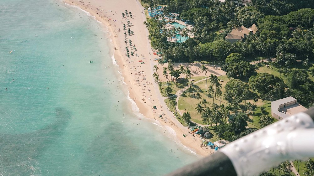Views of Waikiki from a doors off helicopter