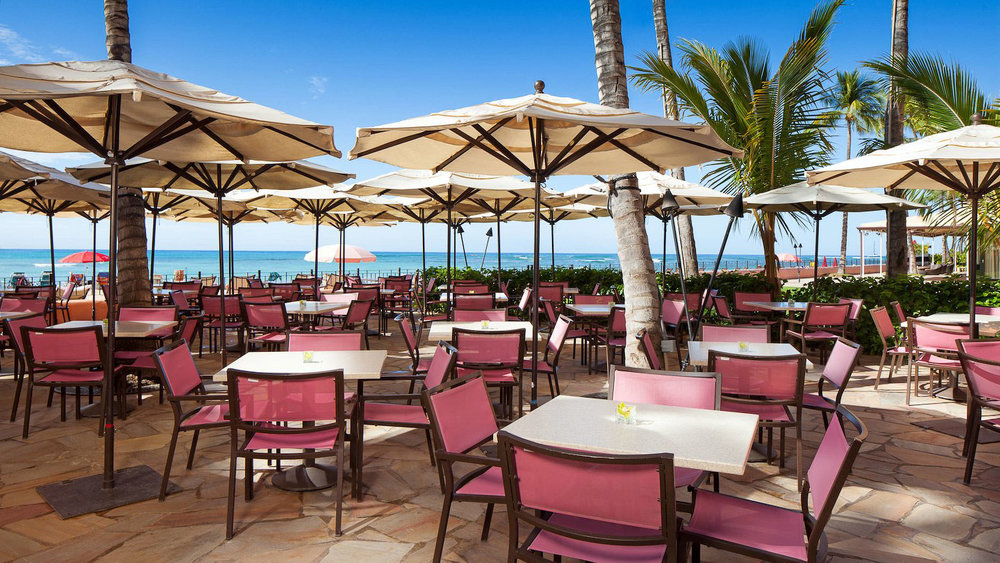 The patio of the Royal Hawaiian, a Waikiki beachfront hotels
