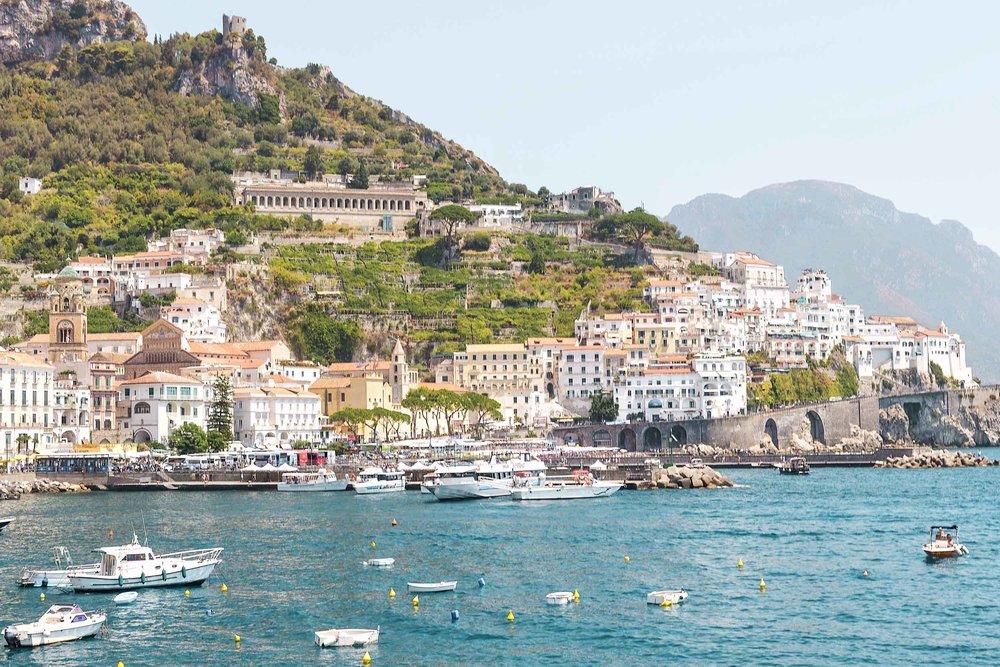 Towns along the Amalfi Coast, including Amalfi