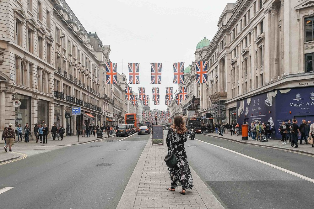 British flags lining Regent Street in honor of the Queen's birthday