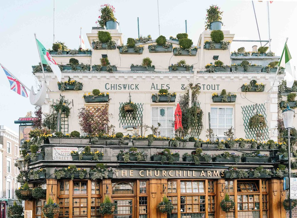 The famous and beautiful Churchill Arms - a can't miss London itinerary item