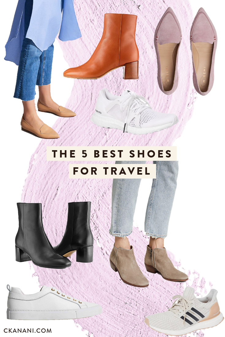 The 5 best shoes for travel. A guide to the most durable, versatile, and fashionable boots, flats, and sneakers - perfect for taking on your next trip! #shoes #travel #fashion