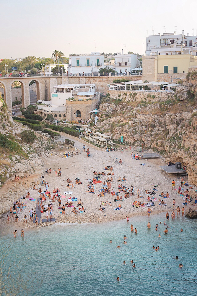 A beautiful beach in Polignano A Mare, the perfect place to spend 1 week in Europe
