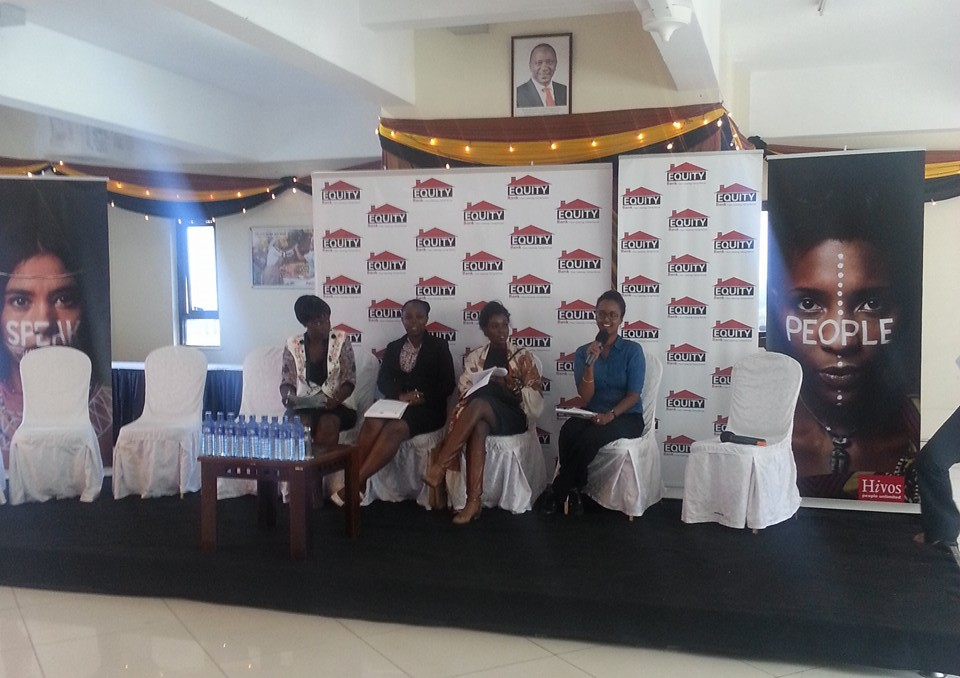 Ms. Amal Mohammed participating in the panel conversation, accompanied by fashion designer Katungulu Mwendwa and others.