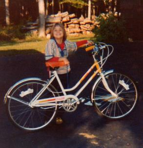It took my dad a very long time to put my 3-speed Huffy together. Look how elated I am to have a new bike!