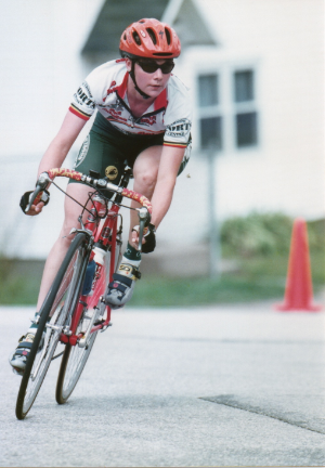 Slightly ahead of the Cat 4's after a successful prime lap at the Concord Crit, 1998.