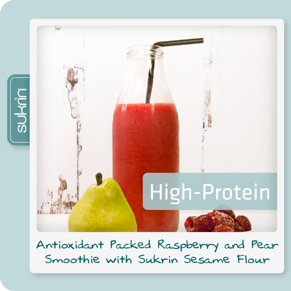 Social media Sesame flour pack2 1054 ANTIOXIDANT PACKED Raspberry & pear smoothie with Sukrin Sesame Flour.png