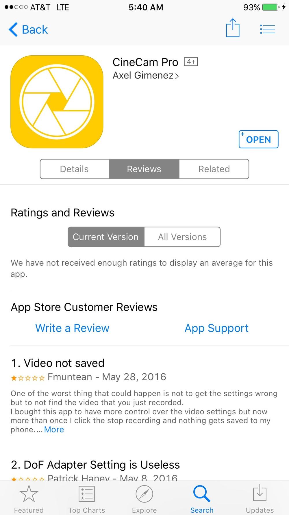 Cinecampro iOS app