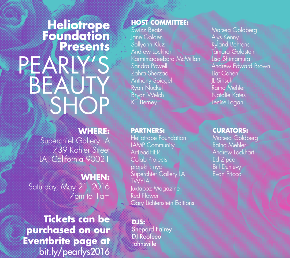Co-produced Pearly's Beauty Shop- a full service salon, exhibition, live auction and dance party of ecstatic aesthetic embellishments to support Swoon's non-profit Heliotrope Foundation projects.