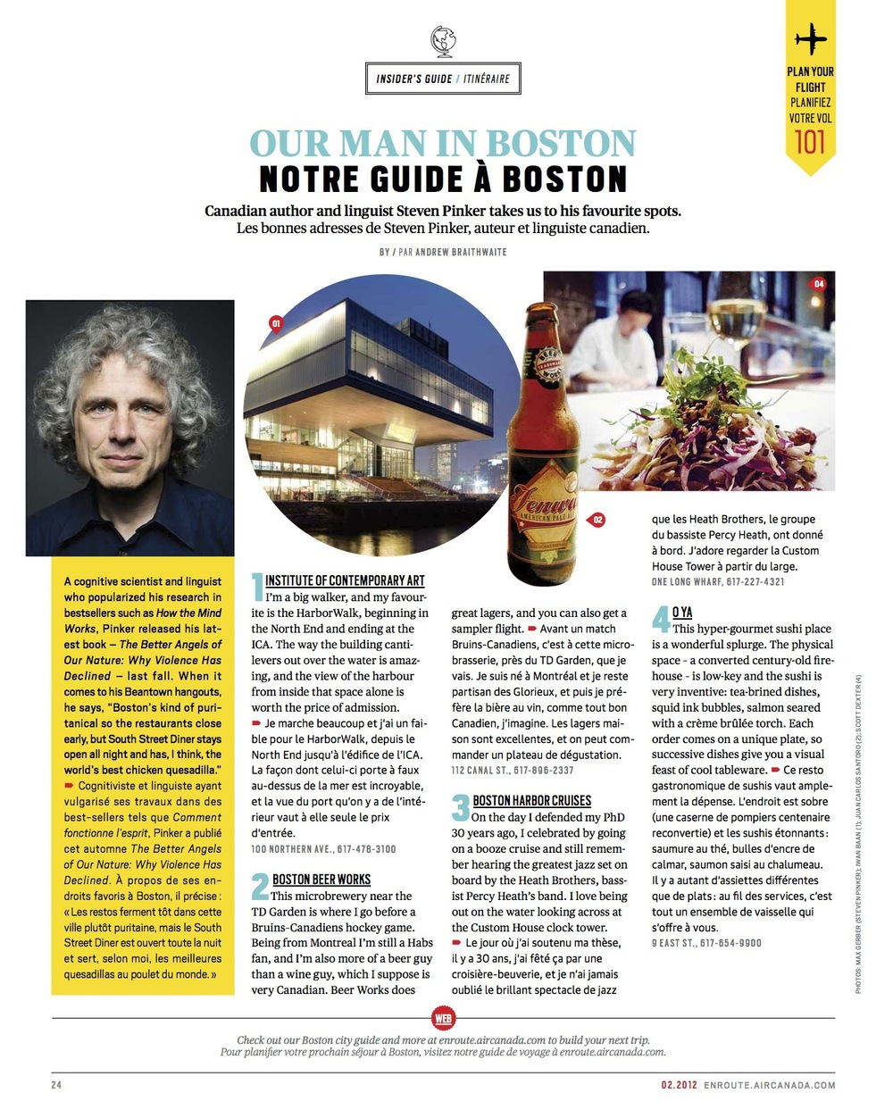 Our Man in Boston: Steven Pinker  //  enRoute  //  2012  //  web