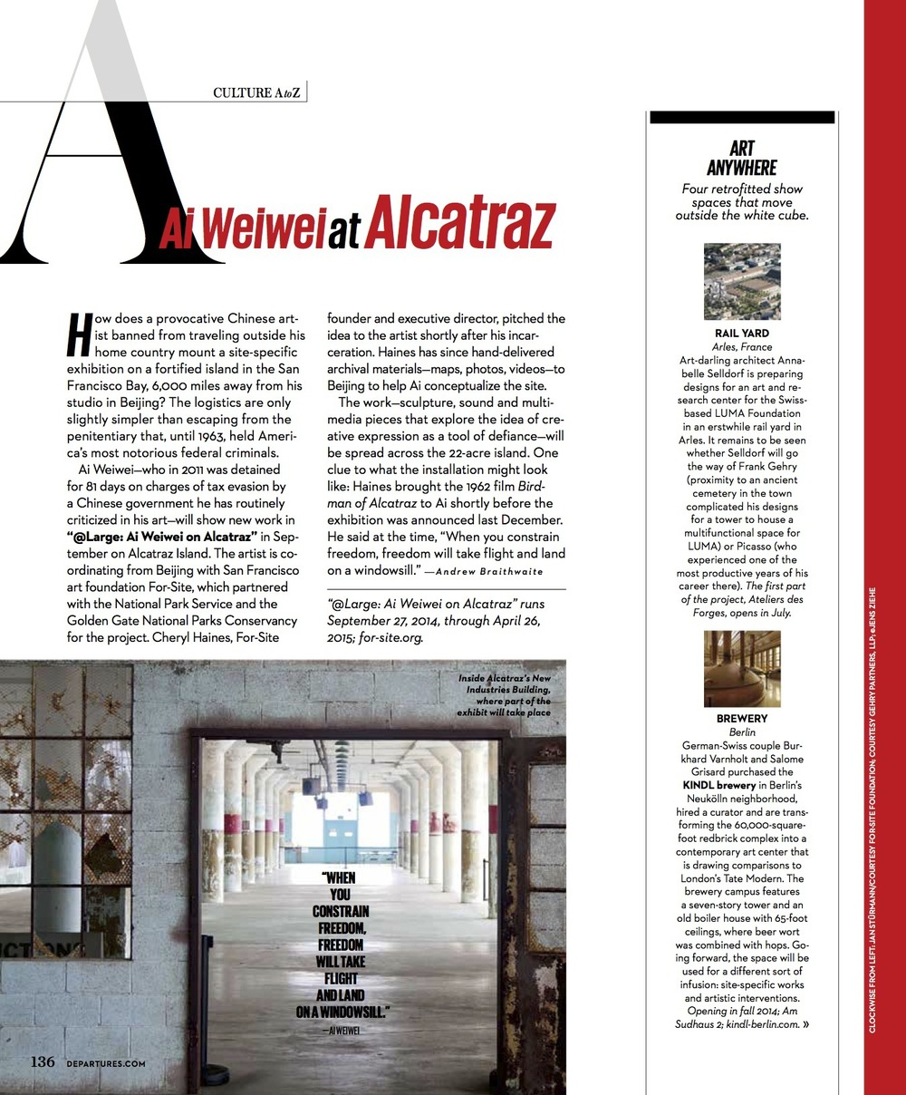 Ai Weiwei at Alcatraz // Departures // 2014 // pdf