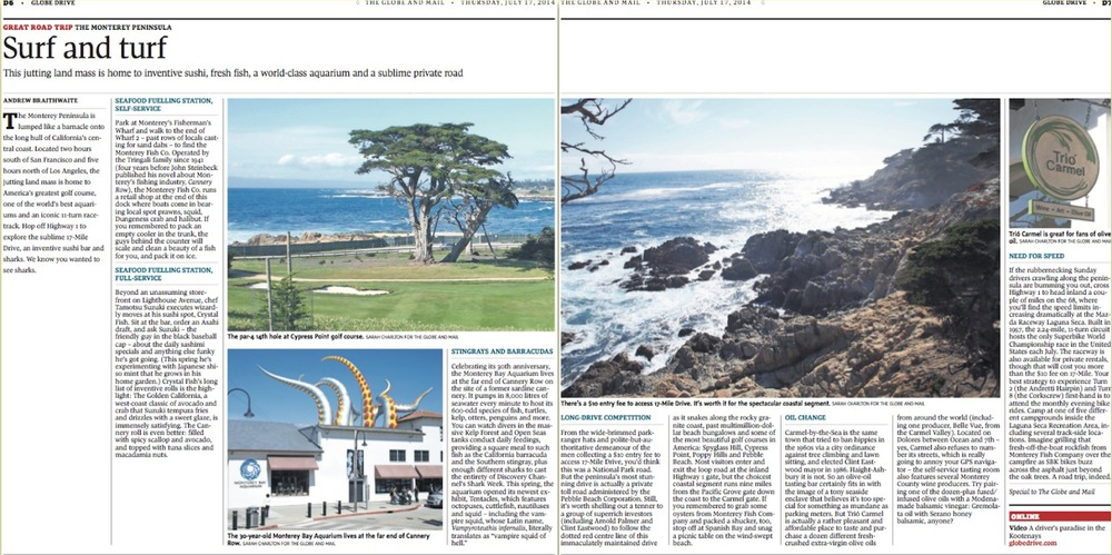 Road Trip: Surf and Turf on California's Coast  //  Globe and Mail  //  2014  //  web