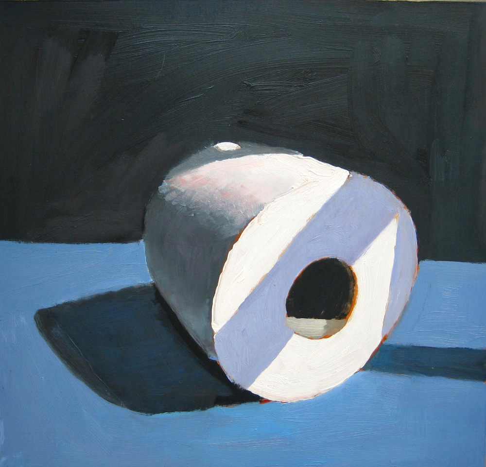 blue toilet paper roll