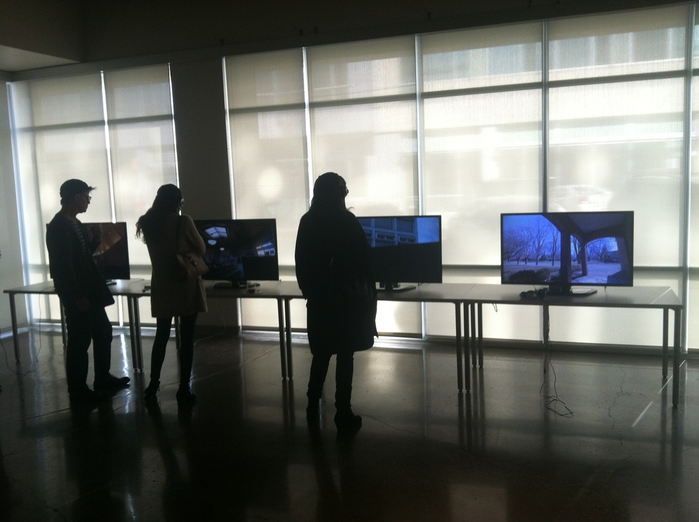 Videos were on display at the front end of the gallery.