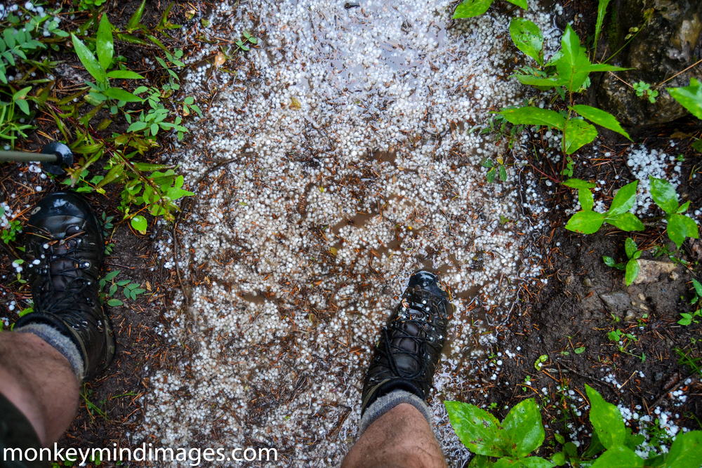 A mixture of hail and rain on Strawberry Creek Trail. Thank you, Salomon, for the good boots.