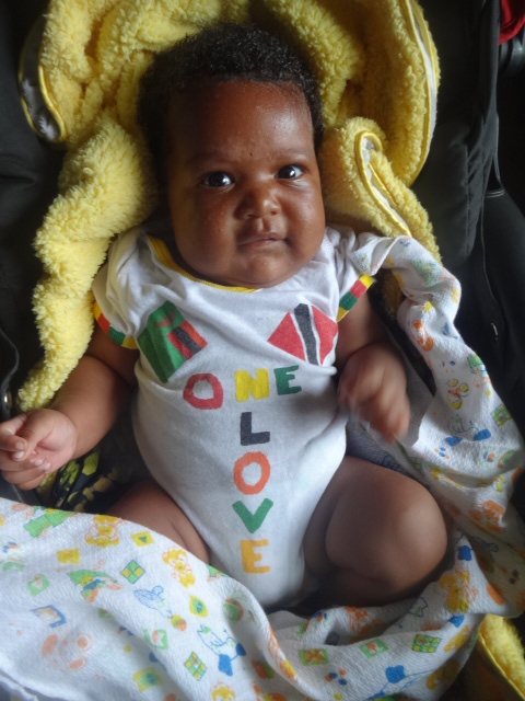 thank you, Tanty April for the beautiful Zambia-Trinidad onesie design!